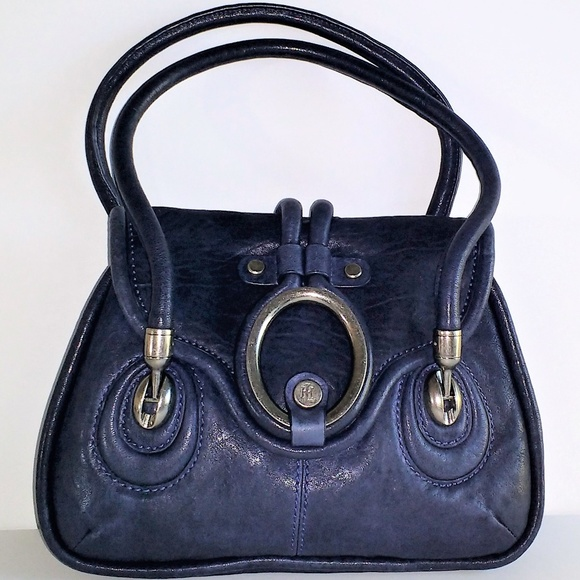 Lockheart Handbags - Lockheart navy leather w silver hardware handbag c658779c227dd